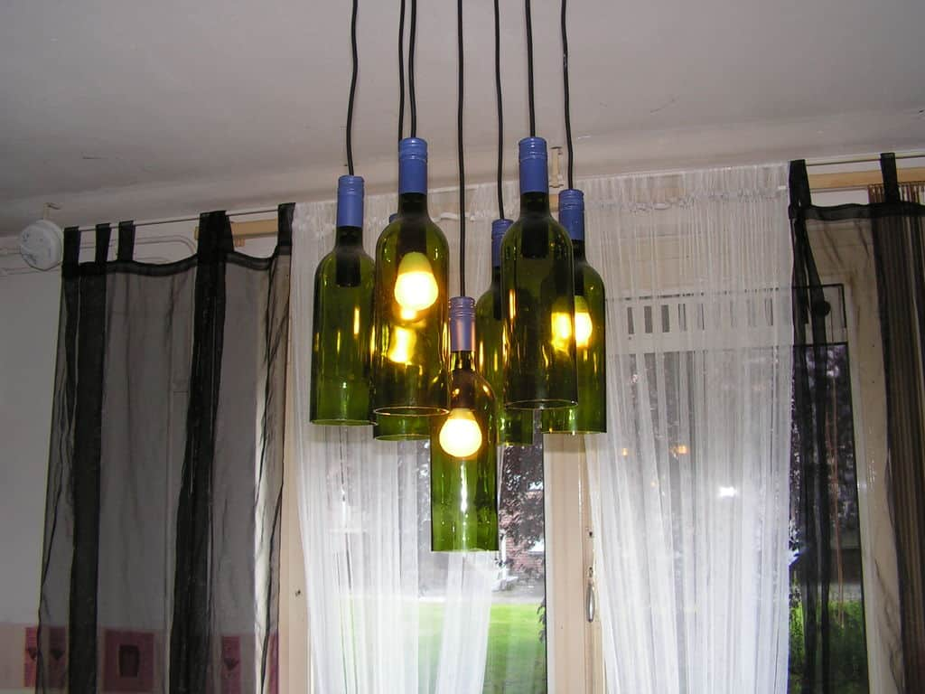 wine-bottles decorated chandelier