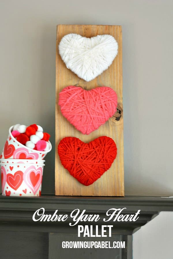 #14. OMBRE YARN  HEART WALL  ART PALLET