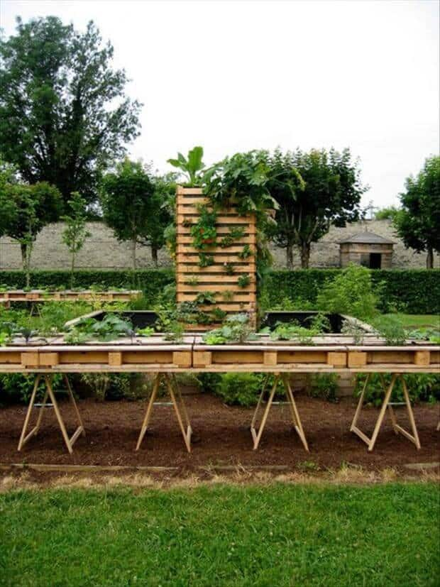 #27. WOODEN PALLET RAISED GARDEN BEDS