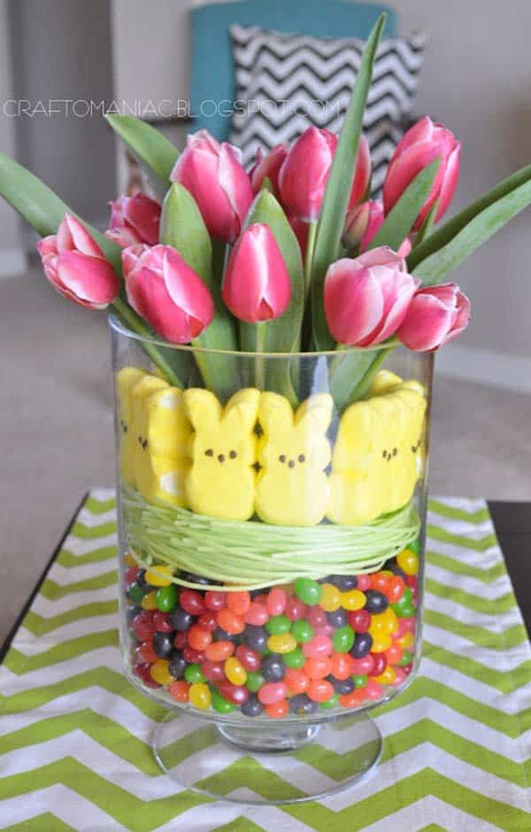 30 superb last minute easy easter crafts for your decor 11 match flowers with sweets into the perfect diy easter gift negle Gallery