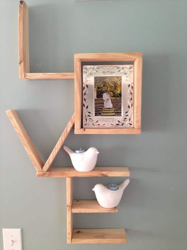 #35. Wooden Pallet LOVE SHELVING