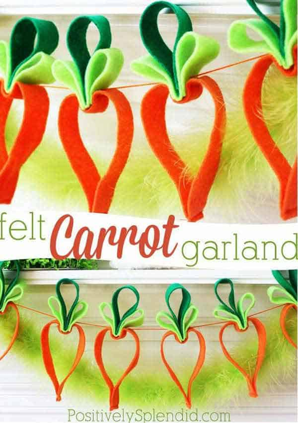 create a felt carrot garland for your mantel