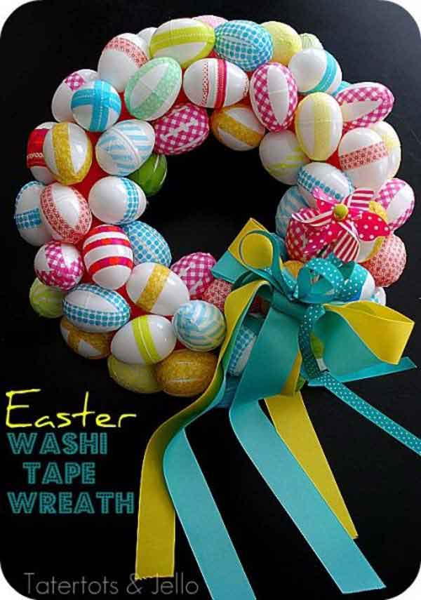 welcome guests with a colorful washi tape easter wreath