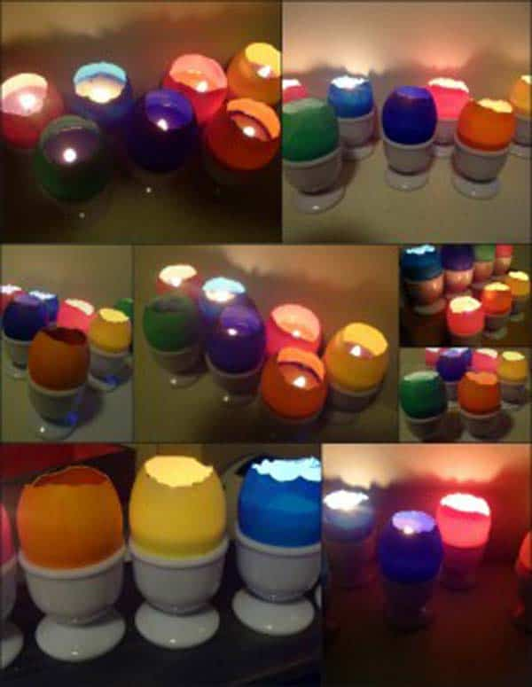 realize small colorful egg votive candles