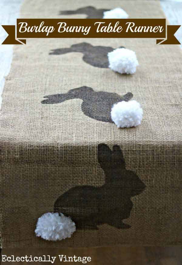 stencil your burlap bunny table runner
