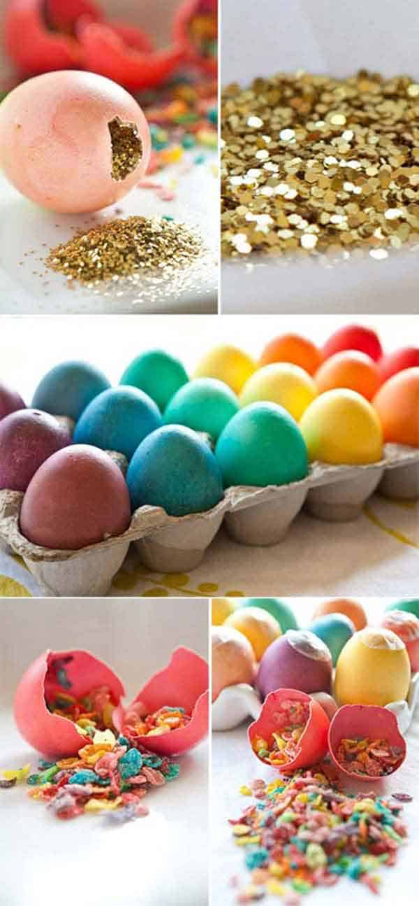 fill colorful eggs with glitter and sweets