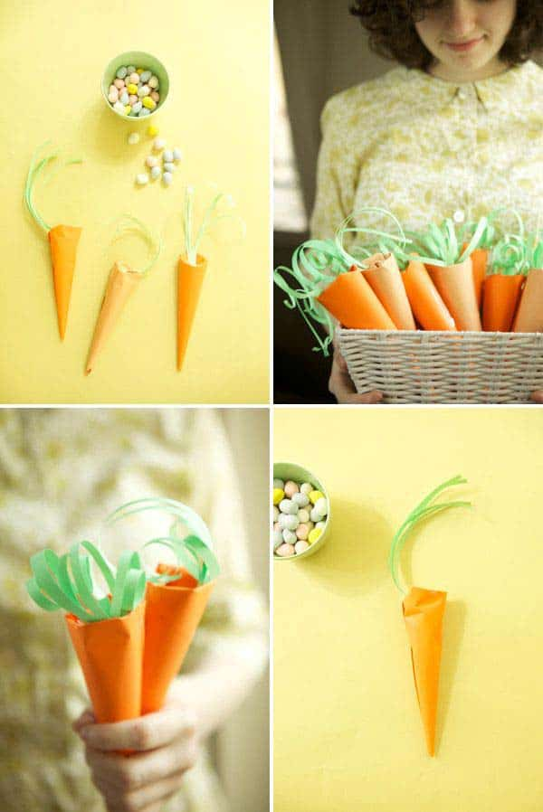 simple paper carrots can hold m&m portions elegantly for children