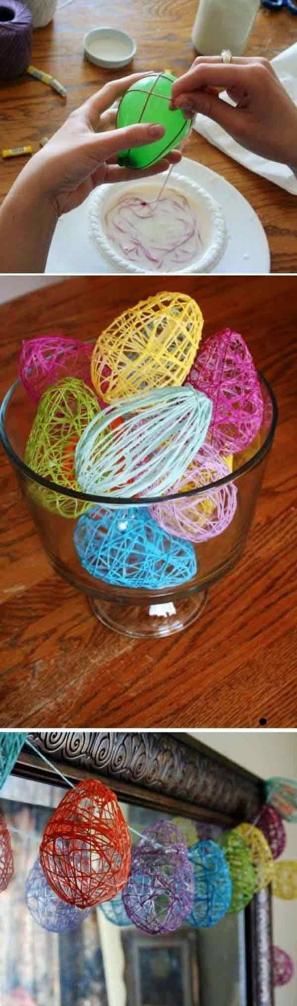 use balloons and string to craft decorative easter eggs