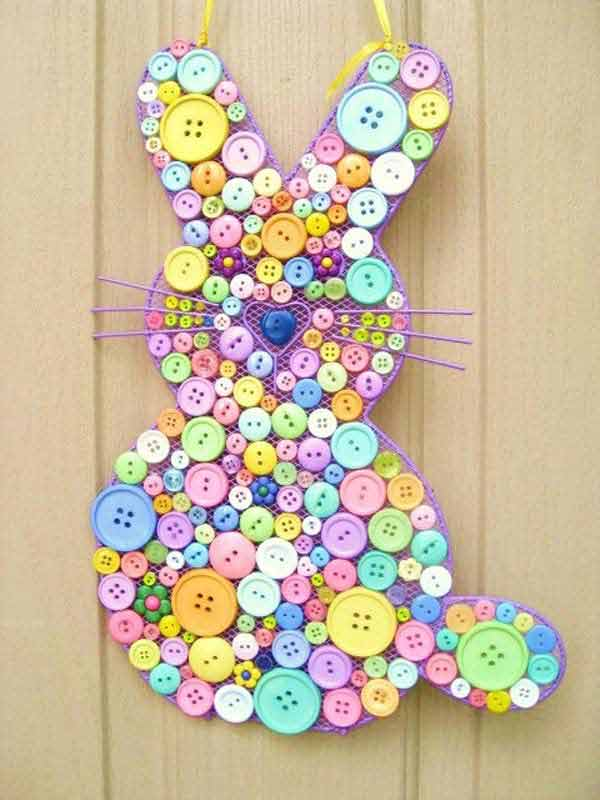 Craft easter decorations with colorful buttons