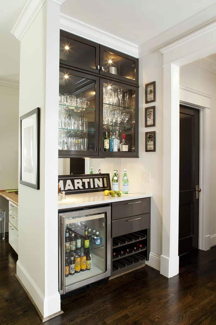 Black And White Built In Home Bar Design Saving A Lot Of Space And Greatly  Emphasizing Entertaining Options.