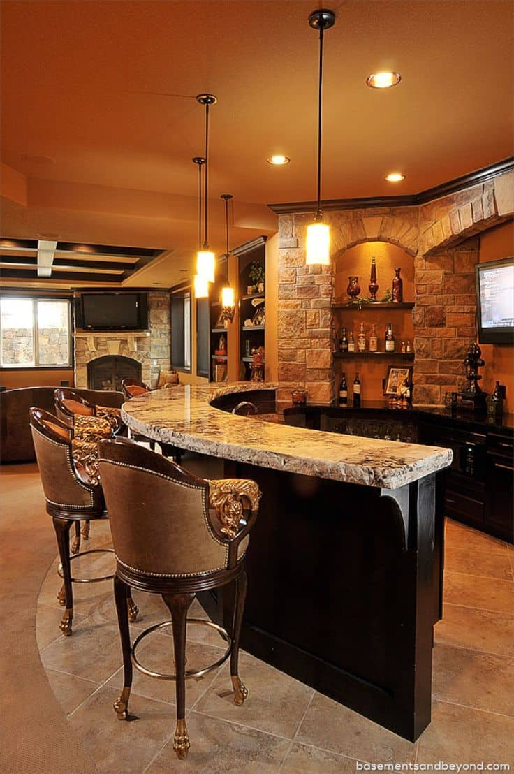 Granite Home Bar Counter Top In A Highly Luxurious Living Space.