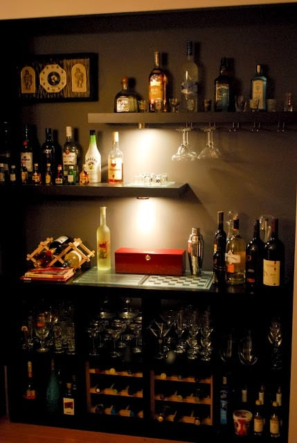 Awesome An Easy Dry Bar Setup. Neat Space Saving Home Bar Design ...