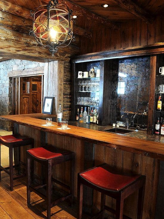 High Quality Rustic Home Bar Area