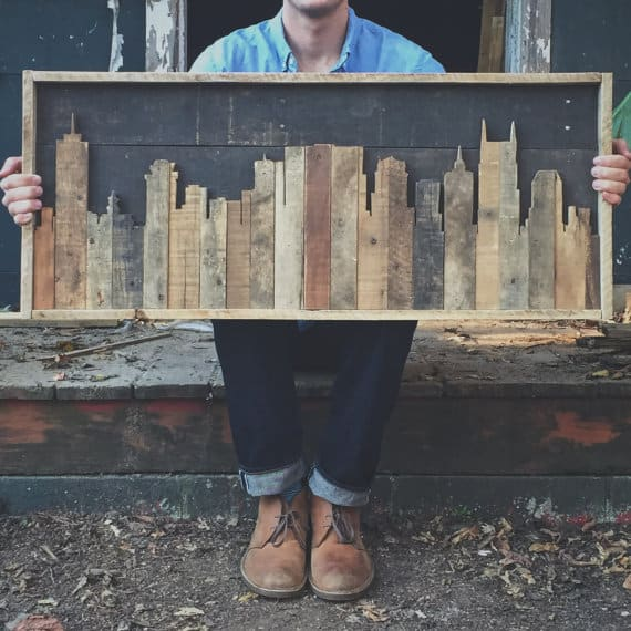 #69. PALLET WOOD CITYSCAPE WALL ART