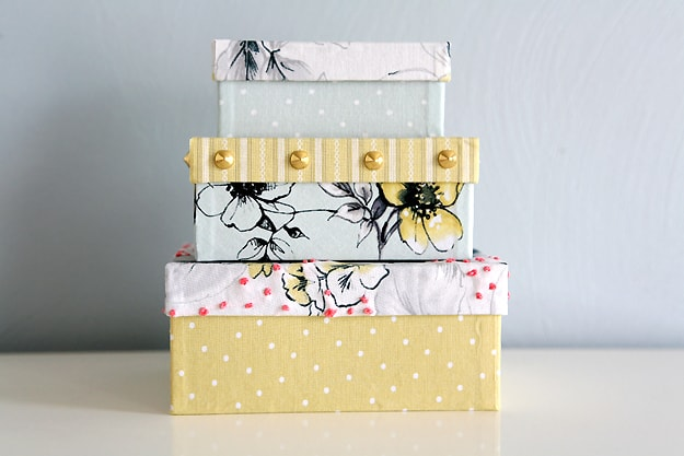 FABRIC COVERED SHOE BOXES