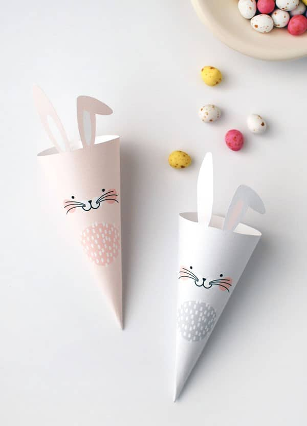 16. create funny paper cones for holding Easter candy with your little ones