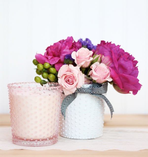 DIY BEADED GLASS CANDLE HOLDERS AND VASE