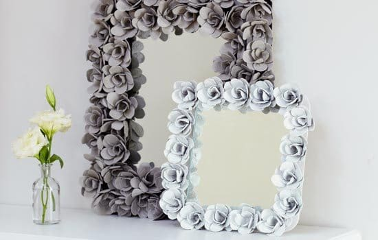 DECORATIVE ROSE MIRROR MADE WITH EGG CARTONS
