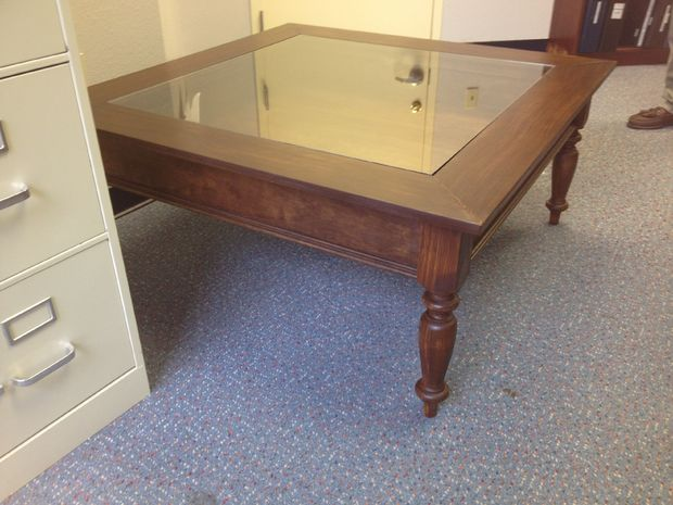 GLASS TOP SHADOW BOX COFFEE TABLE