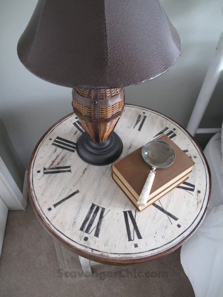 CLOCK TABLE FROM DART BOARD AND DISCARDED TABLE