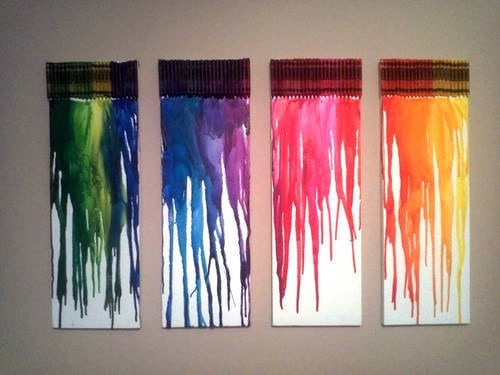DIY ART - MELTED CRAYON CANVASES