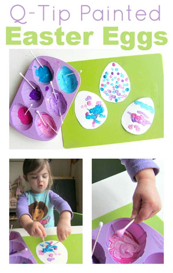 Paint egg shaped paper with Q-tips