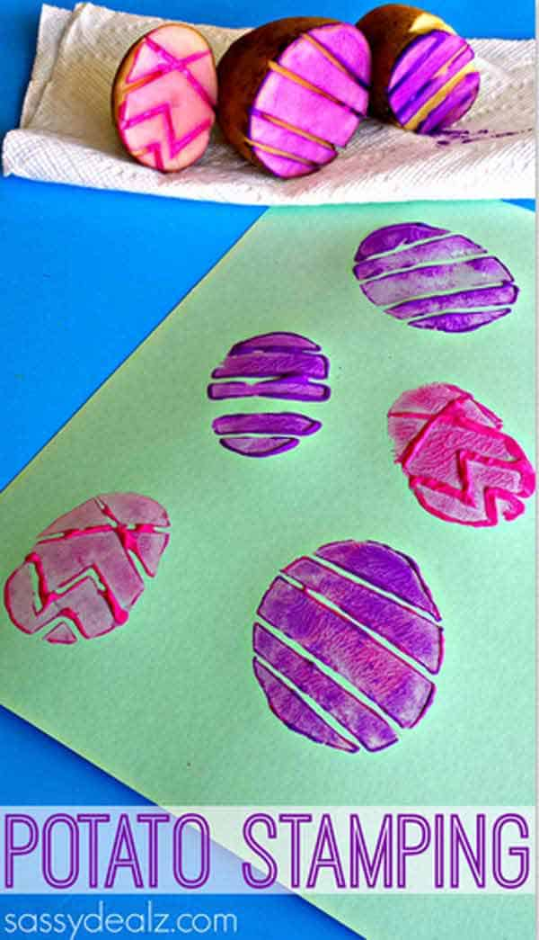 Colorful potato stamping