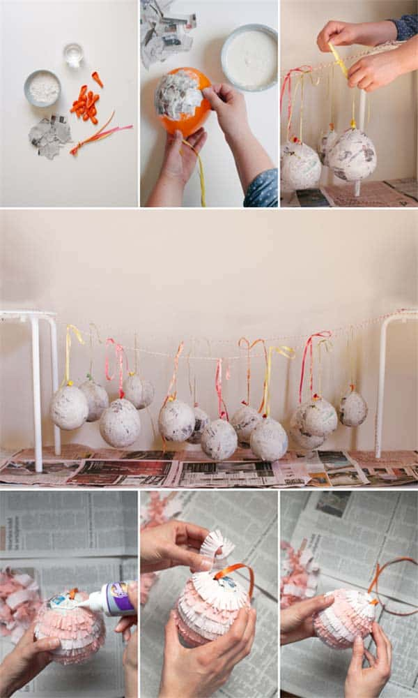 Recycled paper globe decorations