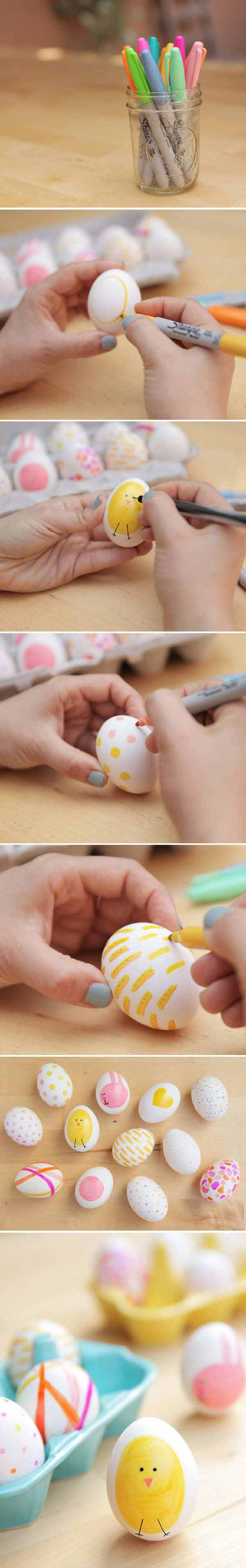 Use sharpies to decorate a few Easter eggs differently