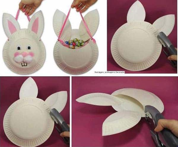 Simple paper plates can make great Easter bunny sweet storage options