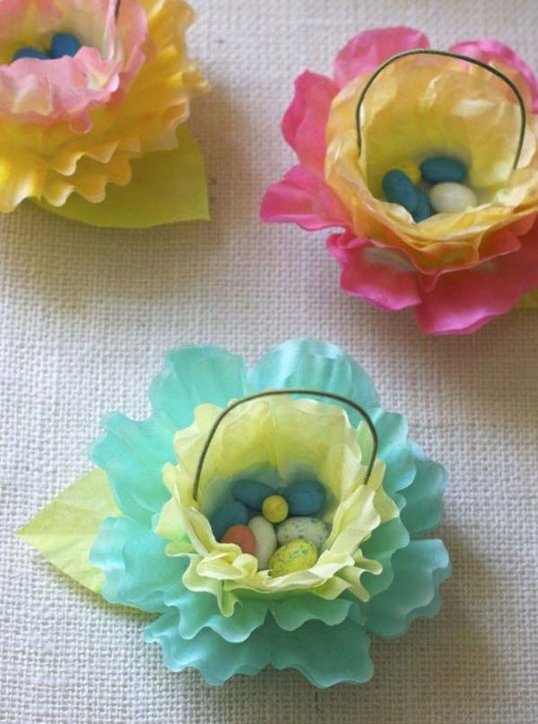 paper flower baskets with tiny Easter eggs