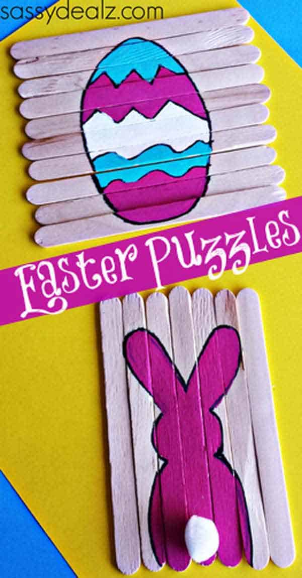 Realize simple Easter puzzles with pop-sickle sticks