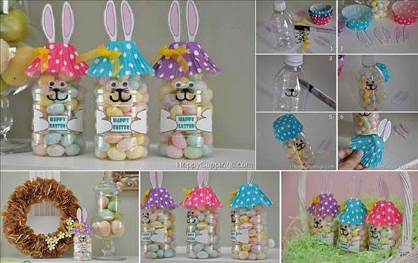 Recycle plastic bottles into Easter bunnies