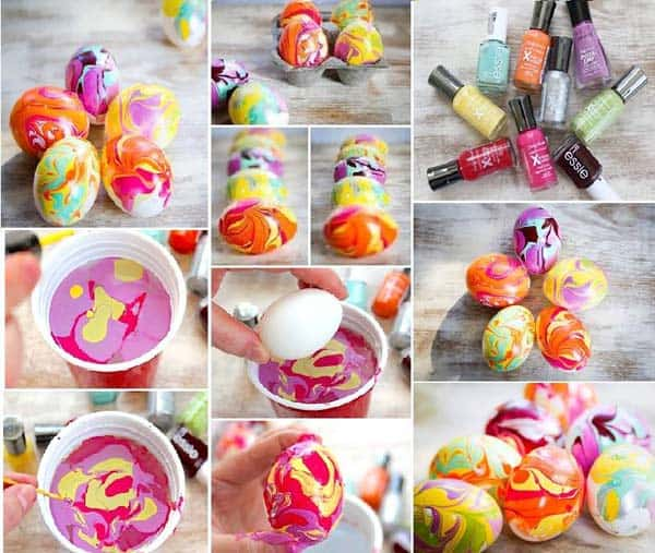 Use this simple trick to create highly colorful organic Easter Eggs