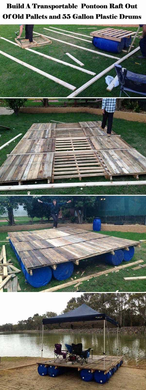 6 Build Fun Pontoon Raft With Old Pallets And Gallon Plastic Drums