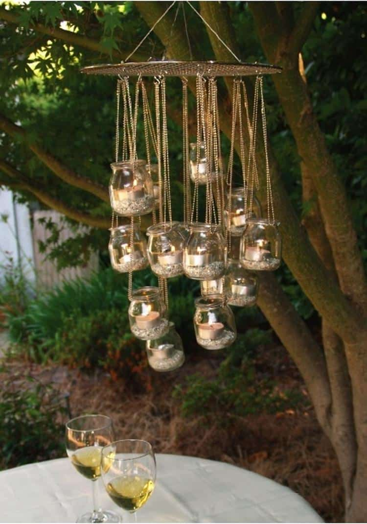 1. A GLORIOUS MASON JAR CANDLE HOLDER CHANDELIER