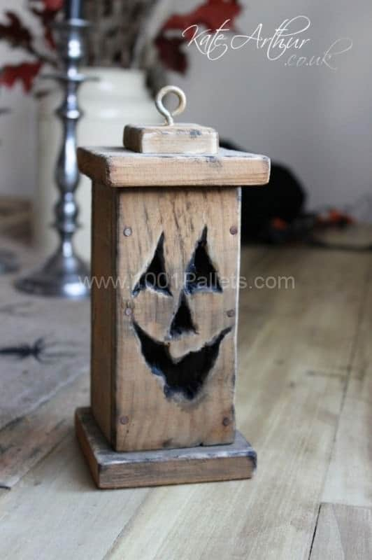 14. OLD WOOD COMPOSED INTO A HALLOWEEN GARDEN LANTERN