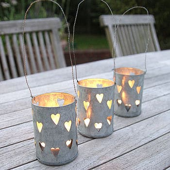 13. TIN CANS CANDLE HOLDERS PERFORATED WITH LITTLE HEARTS