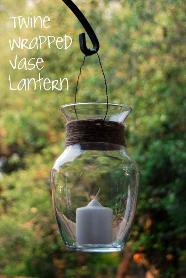 5. A TWINE WRAPPED BASE LANTERN PERFECT FOR THE PATIO