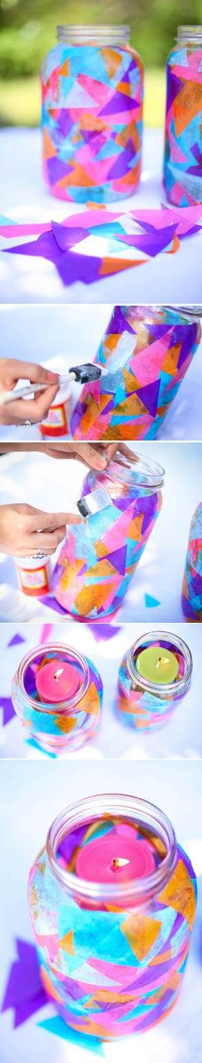 21. COLORFUL TISSUE PAPER DECORATED MASON JARS