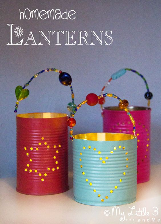 20. COLORFUL FUN TIN CAN LANTERNS
