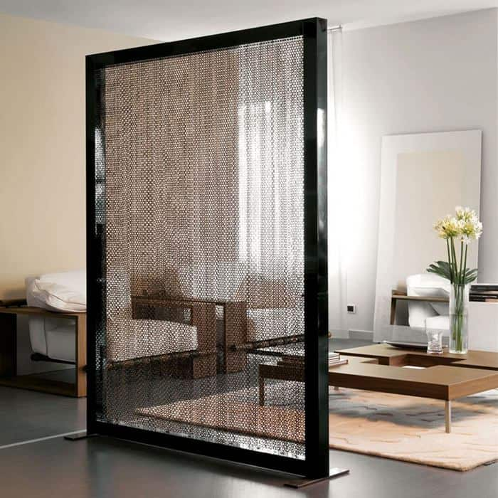 A9 Framed Black Metal Mesh Room Divider Opicos