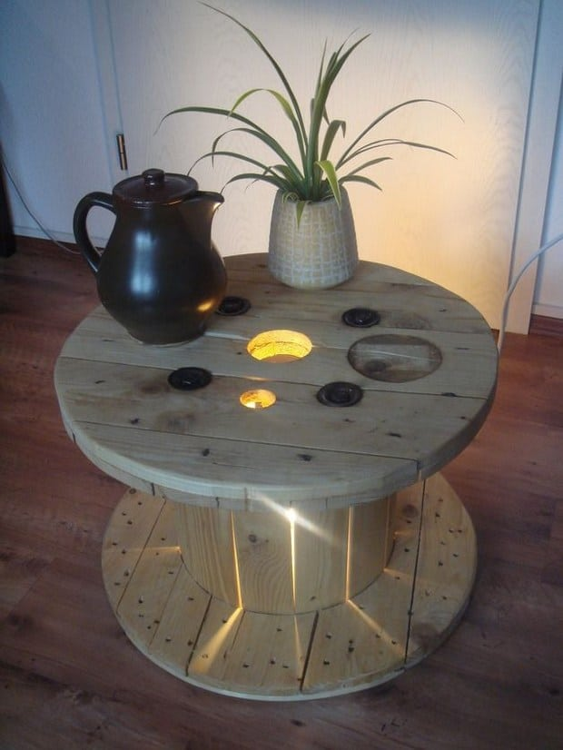 11. A SPOOL TABLE NESTLING LIGHT