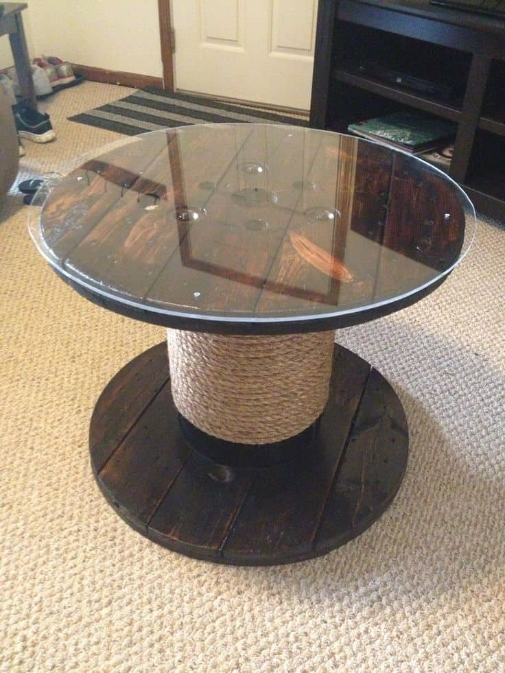 12. GLASS TOPPED ROPE WRAPPED COFFEE TABLE