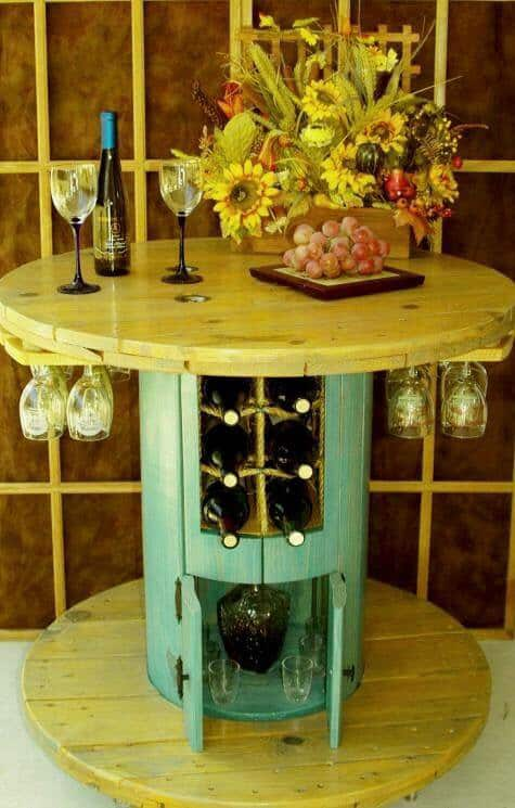 15. SPOOL TABLE DOUBLING AS WINE BAR