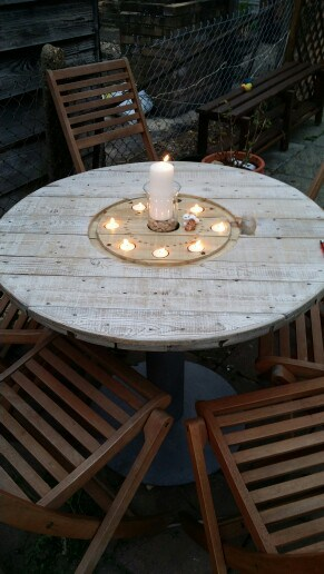 2. TERRACE SPOOL TABLE NESTLING TEA LIGHT CANDLES