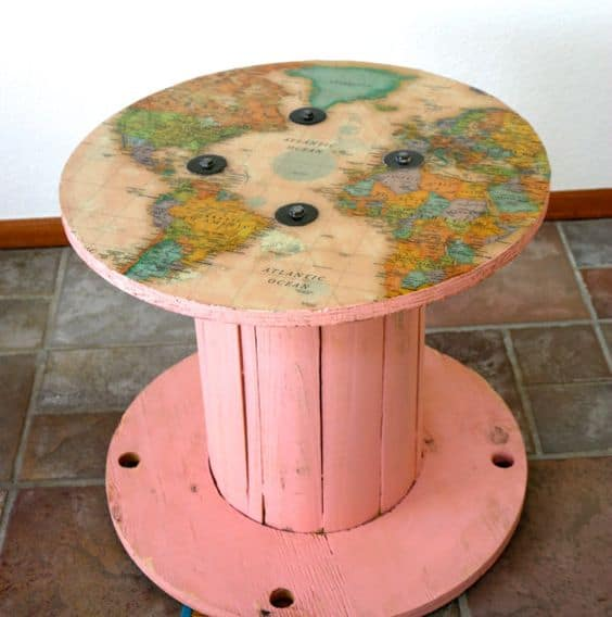 5. MAP OF THE WORLD SPOOL TABLE IN BRIGHT PINK