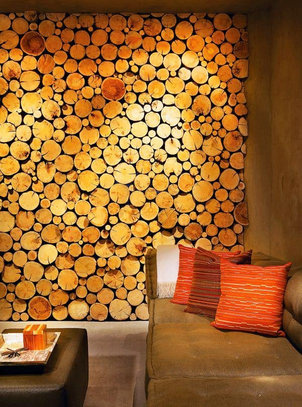 11. Wall Decor Realized From Various Sized Tree Trunk Slices