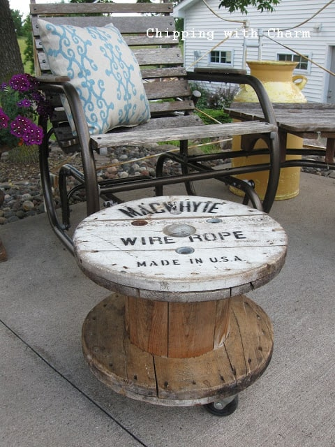 4. A VINTAGE LOOKING SPOOL TABLE DESIGN WITH A FRENCH VIBE