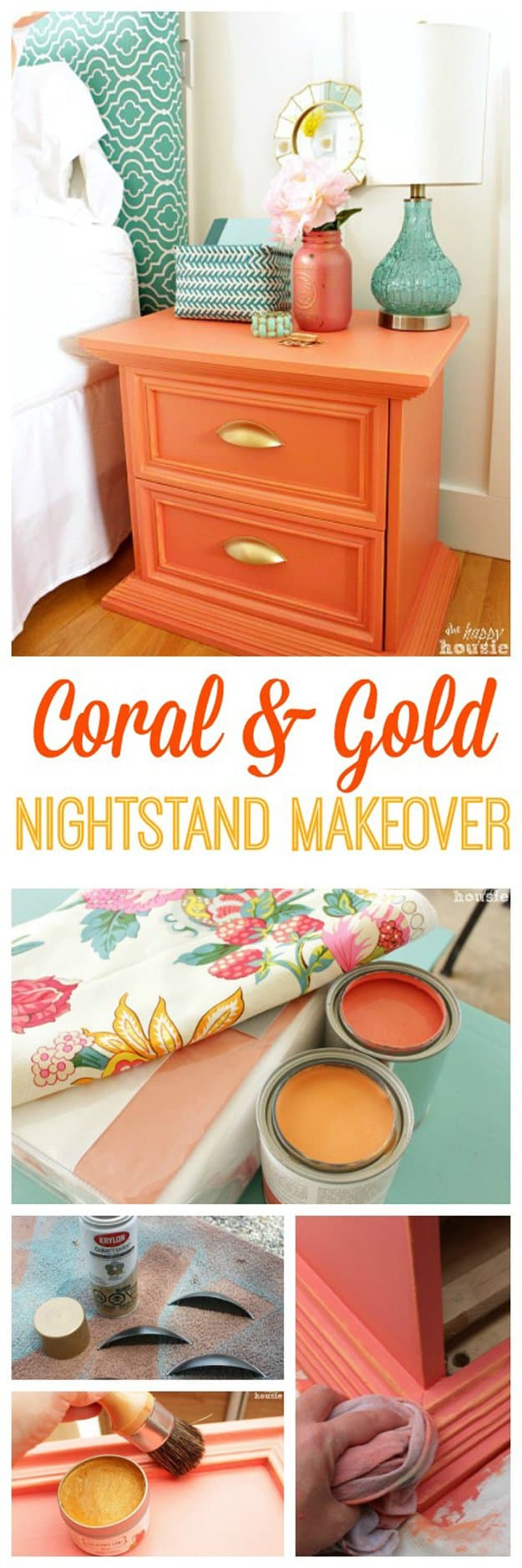 25. NESTLE A CORAL AND GOLD NIGHTSTAND IN YOUR DECOR